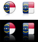 North Carolina Flag Icon on Internet Button — Vector de stock