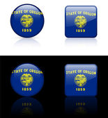 Oregon Flag Icon on Internet Button — Stock Vector