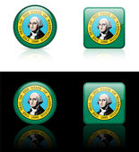 Washington Flag Icon on Internet Button — Stock Vector