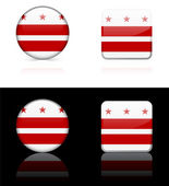 Washington DC Flag Icon on Internet Button — Stock Vector