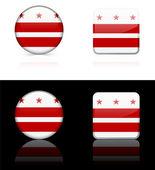 Washington DC Flag Icon on Internet Button — Stock Vector
