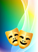 Comedy and Tragedy Masks on Abstract Color Background — Stock Vector
