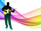 Guitar Musician on Colorful Abstract Background — Stock Vector