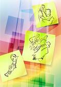 Post-it notities op abstracte achtergrond — Stockvector