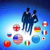 Business-paar auf internet flagge buttons hintergrund — Stockvektor