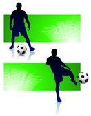 футбол игрок набор с зеленой рамкой — Cтоковый вектор