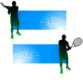 Tennis Player with Blue Banners — Stock Vector