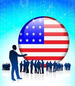 Chef d'entreprise américain touche internet — Vecteur