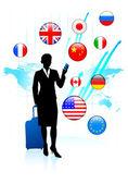 предприниматель путешественника с интернет флаг кнопками — Cтоковый вектор