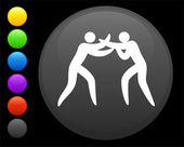 Icono de la lucha en botón redondo de internet — Vector de stock