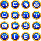 Technology and communication icons on buttons with golden borde — Stock Vector