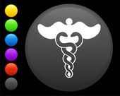 Caduceus icon on round internet button — Stock Vector