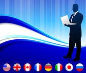Empresário com fundo de botões de bandeira de internet — Vetorial Stock