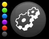 Symbool van het deel van de machine op ronde internet knop — Stockvector