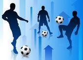 Piłkarz z streszczenie strzałka tło — Wektor stockowy