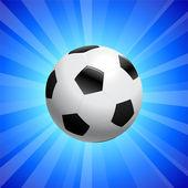 青色の背景にサッカー ボール — ストックベクタ