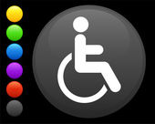 Wheelchair icon on round internet button — Stock Vector