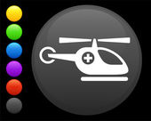 Helicopter icon on round internet button — Stock Vector