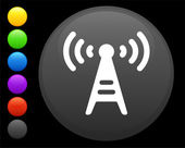 Radio tower icon on round internet button — Stock Vector