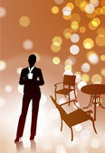Businesswoman on Coffee Break — Stock Vector