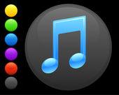 Icono de nota musical en botón redondo de internet — Vector de stock