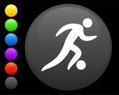 Soccer (football) icon on round internet button — Stock Vector