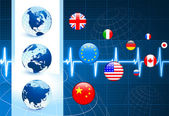 Globes met vlaggen internet knoppen — Stockvector