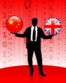 Businessman Holding China and British Internet Flag Buttons — Stock Vector