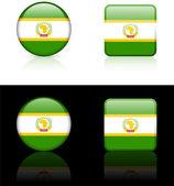 Afrikaanse Unie vlag knoppen op witte en zwarte achtergrond — Stockvector