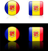 Andorra Flag Buttons on White and Black Background — Stock Vector