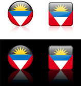 Antigua Flag Buttons on White and Black Background — Stock Vector