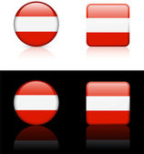 Austria Flag Buttons on White and Black Background — Stock Vector