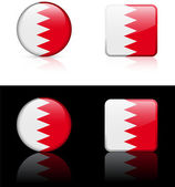 Bahrain Flag Buttons on White and Black Background — Stock Vector