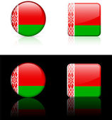 Belarus Flag Buttons on White and Black Background — Stock Vector