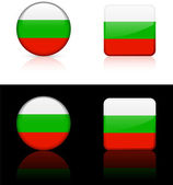 Bulgaria Flag Buttons on White and Black Background — Stock Vector