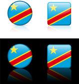 Congo vlag knoppen op witte en zwarte achtergrond — Stockvector