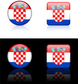 Croatia Flag Buttons on White and Black Background — Stock Vector