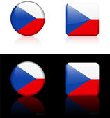 Czech republic Flag Buttons on White and Black Background — Stock Vector