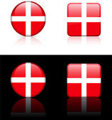 Denmark Flag Buttons on White and Black Background — Stock Vector