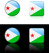 Djibouti Flag Buttons on White and Black Background — Stock Vector