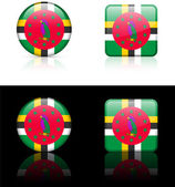Dominica Flag Buttons on White and Black Background — Stock Vector