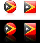 East timor Flag Buttons on White and Black Background — Stock Vector