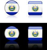 El Salvador Flag Buttons on White and Black Background — Stock Vector