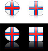 Faroe Islands Flag Buttons on White and Black Background — Stock Vector