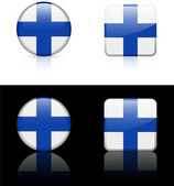 Finland Flag Buttons on White and Black Background — Stock Vector