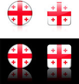 Georgia Flag Buttons on White and Black Background — Stock Vector