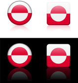 Greenland Flag Buttons on White and Black Background — Stock Vector