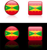 Grenada Flag Buttons on White and Black Background — Stock Vector