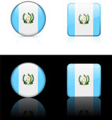 Guatemala Flag Buttons on White and Black Background — Stock Vector