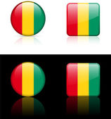 Guinea Flag Buttons on White and Black Background — Stock Vector